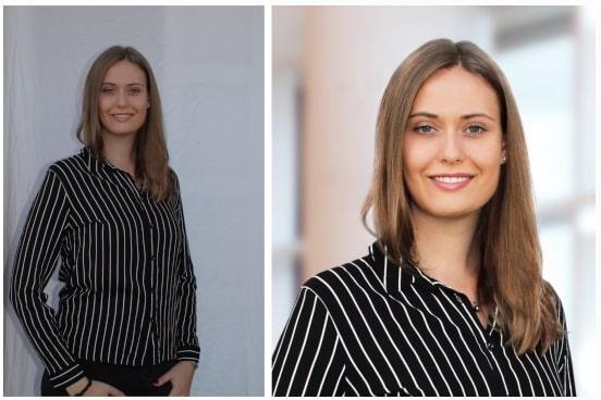 Links: ein unbearbeitetes, dunkles Bild einer Frau. Rechts: ein helles, bearbeitetes Bilder derselben Frau.