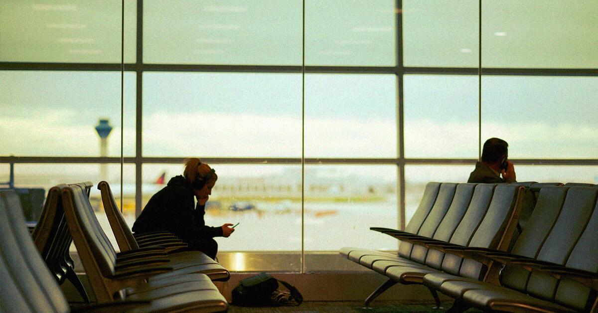 Waiting at an airport