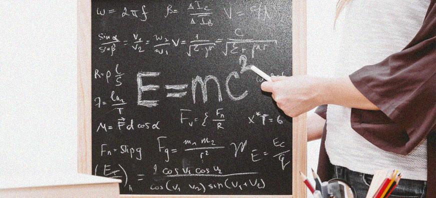 Blackboard with math
