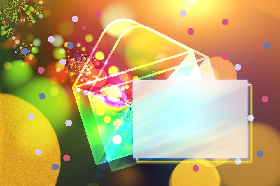 A graphic image of a colourful envelope.