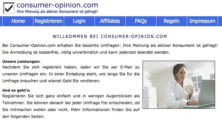 Screenshot: consumer-opinion.com