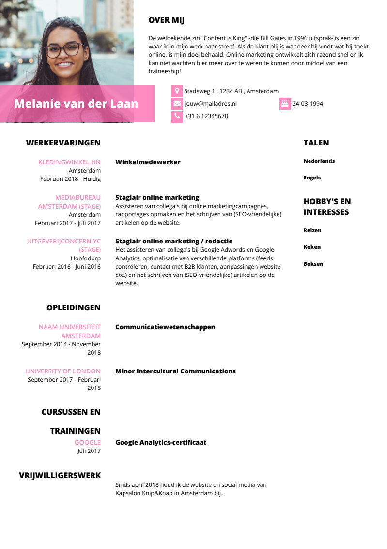 Traineeship cv