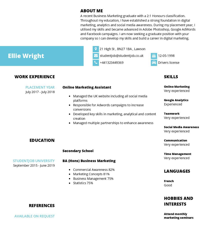 ejemplo de CV en ingles
