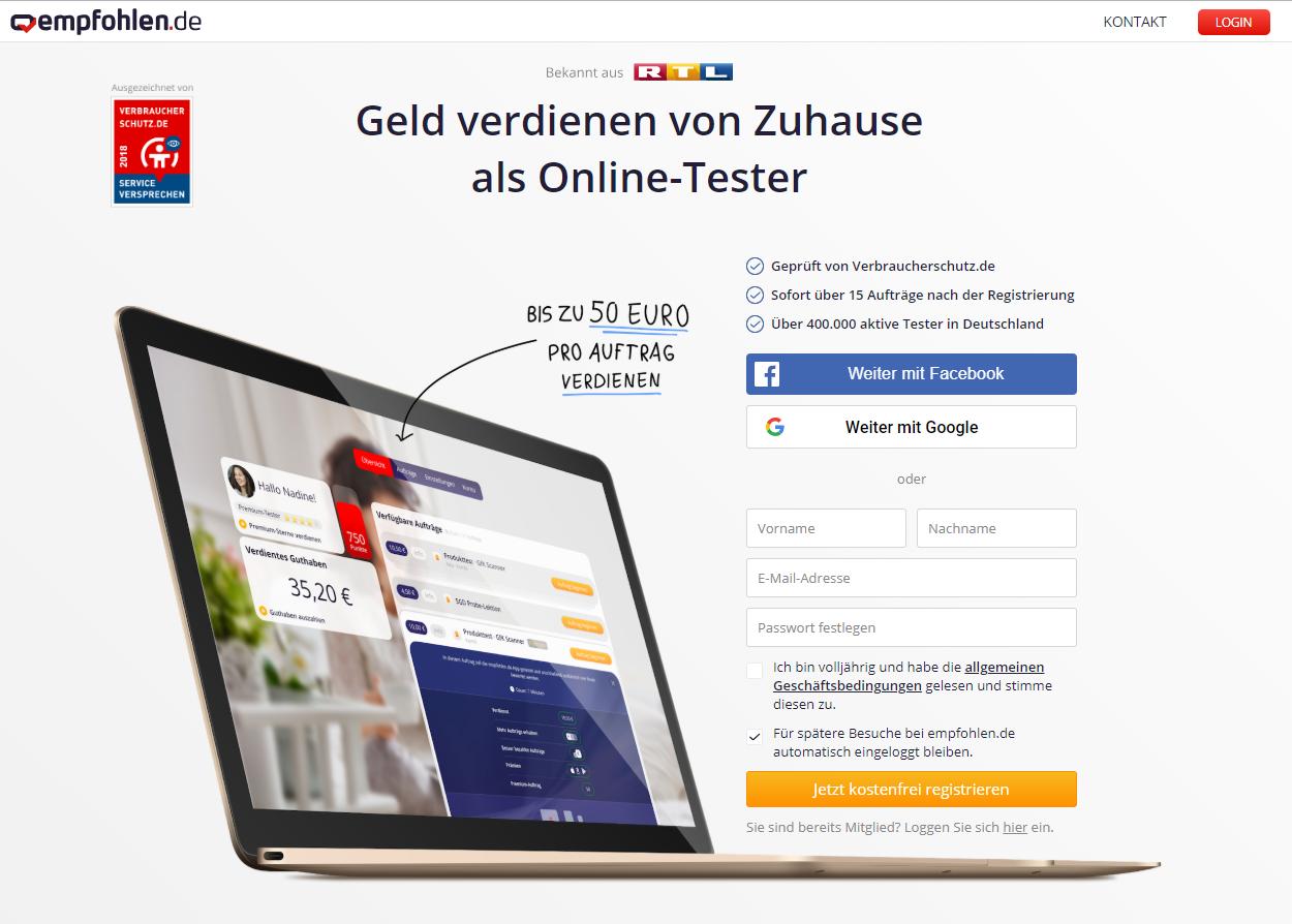 Screenshot empfohlen.de