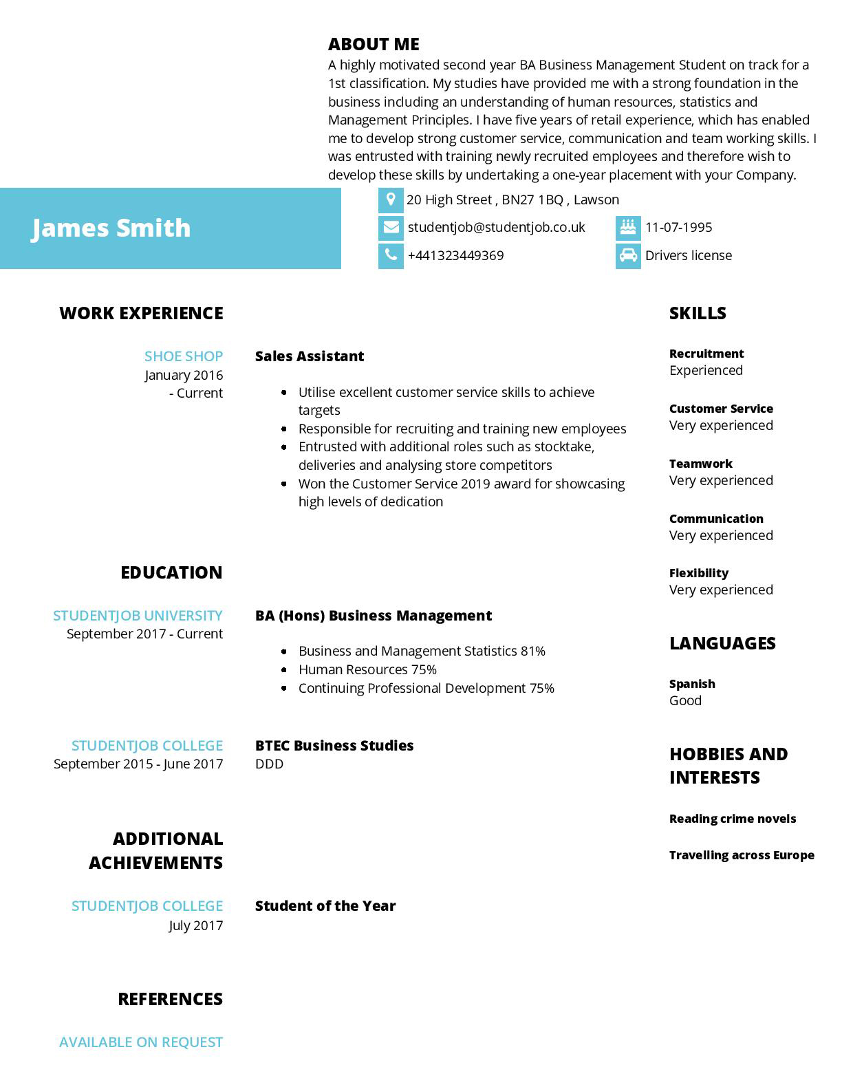 Cv Examples And Cv Templates Studentjob Uk