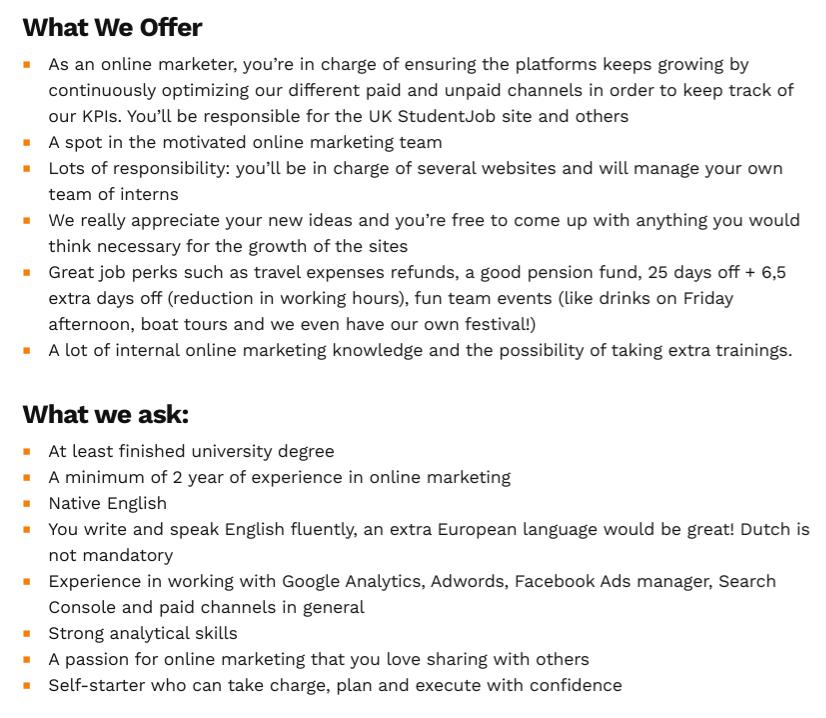 job advert examplet