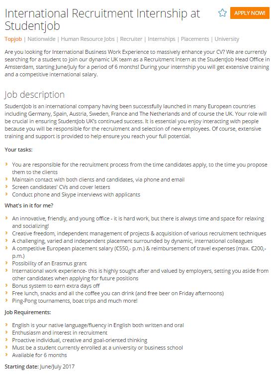 job advert example