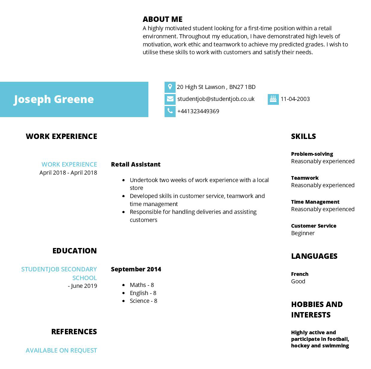 Cv Examples And Cv Templates For Free Studentjob Uk