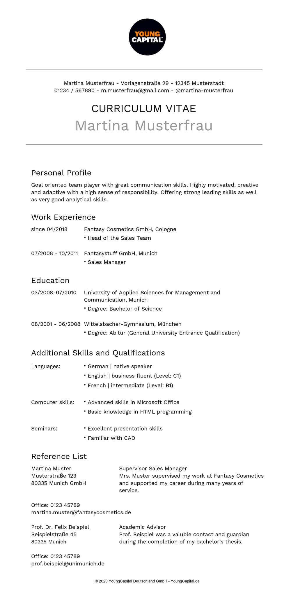 Lebenslauf Englisch Tipps Und Vorlagen Von Profis 2