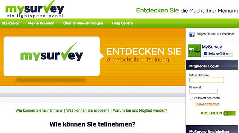 Screenshot: MySurvey.com
