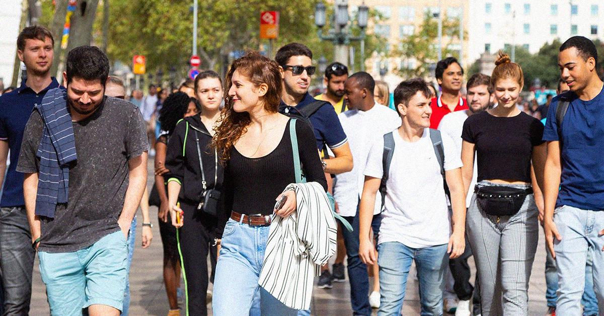 EU Business School Students Walking