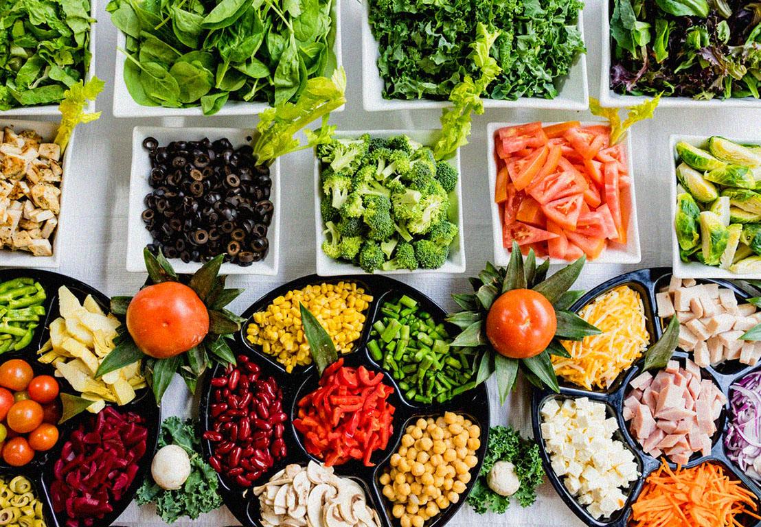 Variado de comida sana