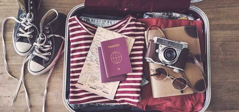 Picture of suitcase with passport