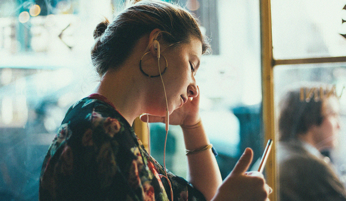 Girl listening to headphones