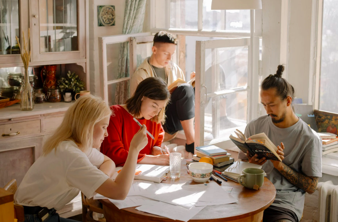 Students learning in their kitchen