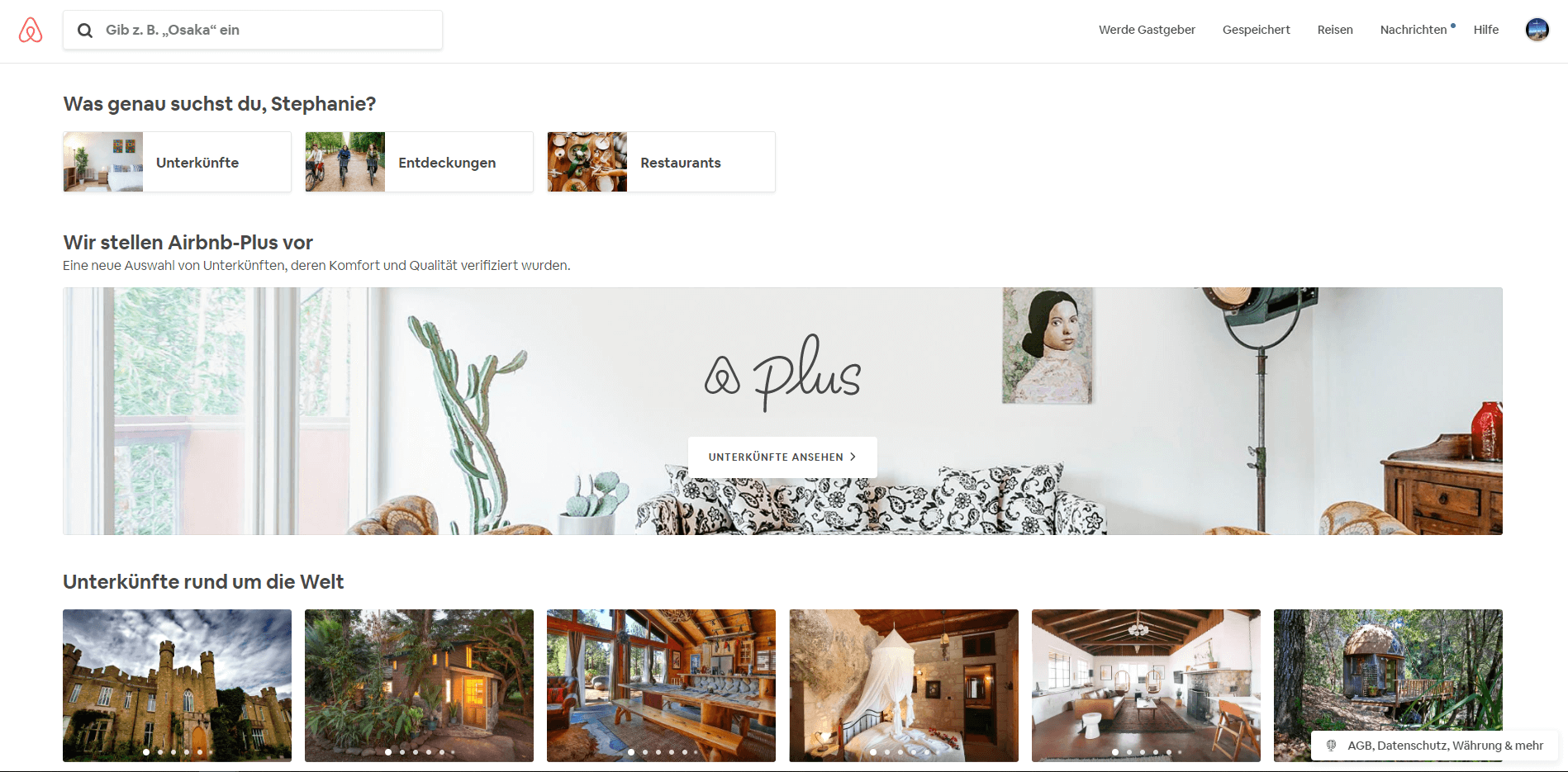 Screenshot Airbnb Website