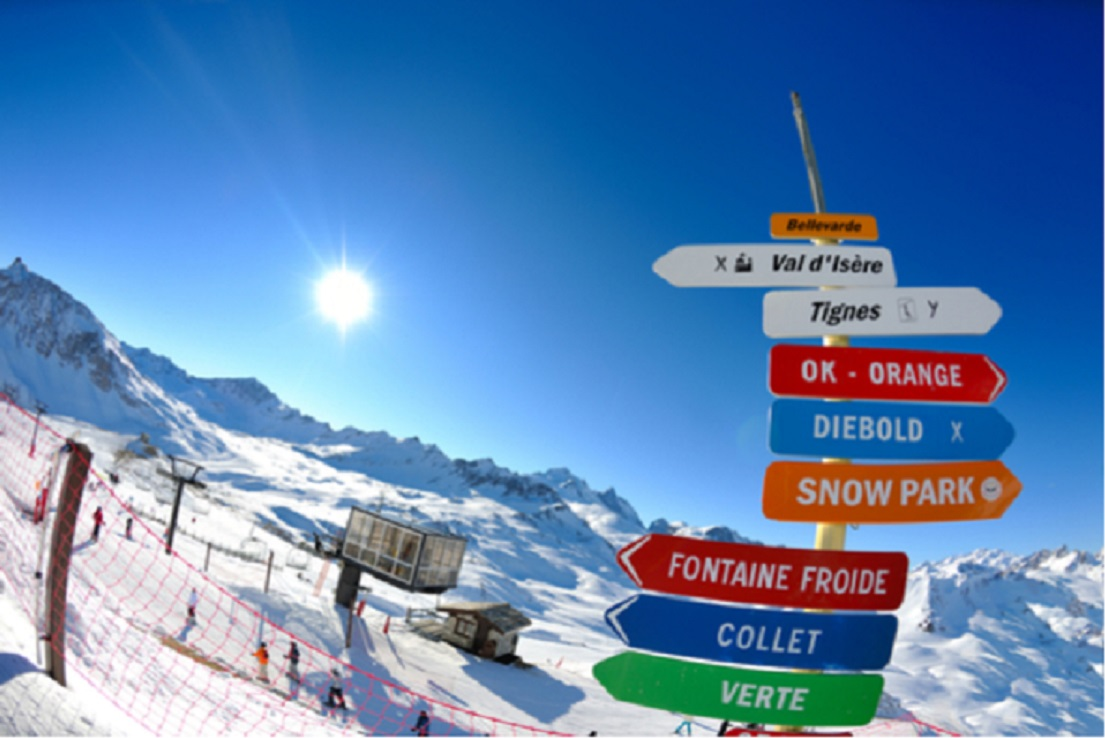Val d'Isere skiing signs